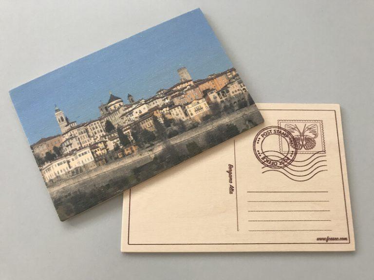 Cartolina in legno Bergamo - Città Alta