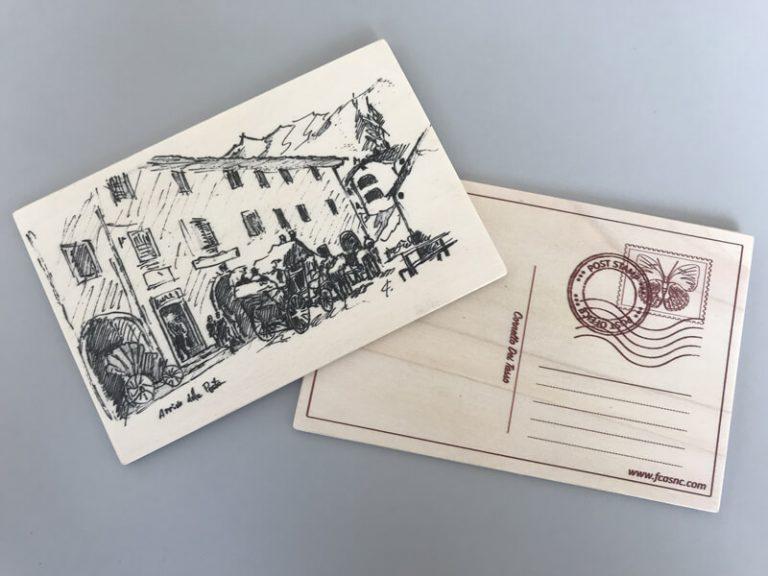 Cartolina in legno Cornello dei Tasso