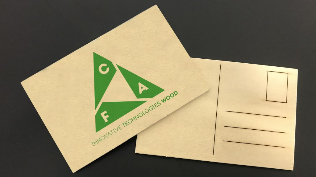Wooden postcards with logo